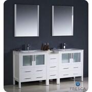 Fresca Torino 72'' Double Modern Sink Bathroom Vanity Set w/ Mirror; White