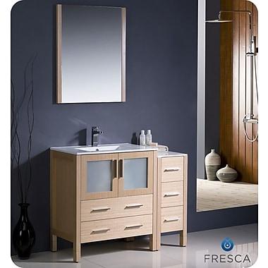 Fresca Torino 42'' Single Modern Bathroom Vanity Set w/ Mirror; Light Oak