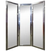 Hitchcock Butterfield Company Satin Brushed Nickel Silver Thick Three 3 Panel Mirror Room Divider