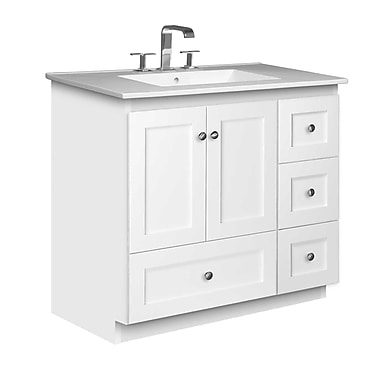 Strasser Woodenworks Simplicity 37'' Single Bathroom Vanity Set; Satin White