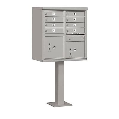 Salsbury Industries 8 Door Rear Load 4C Horizontal Cluster Box Unit w/ 2 Parcel Lockers; Gray