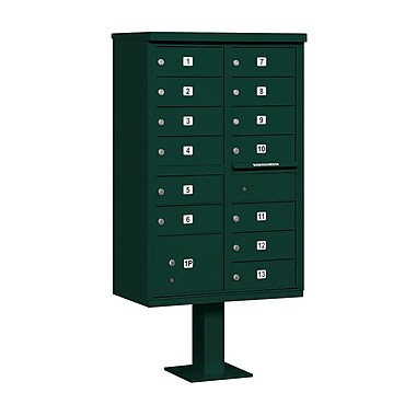 Salsbury Industries 13 Door Rear Load 4C Horizontal Cluster Box Unit; Green