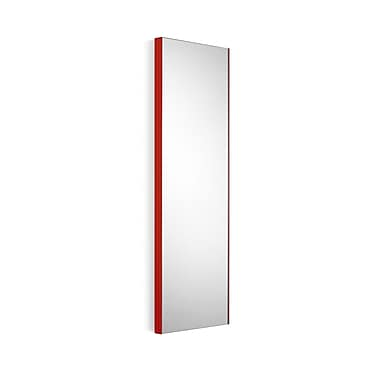 WS Bath Collections Linea Wall Mirror; Mirrored Glass / Red Frame