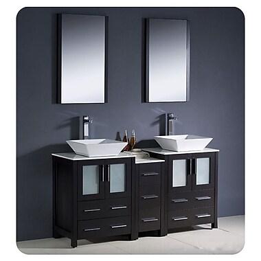 Fresca Torino 60'' Double Modern Bathroom Vanity Set w/ Mirror; Espresso
