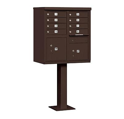 Salsbury Industries 8 Door Rear Load 4C Horizontal Cluster Box Unit w/ 2 Parcel Lockers; Bronze