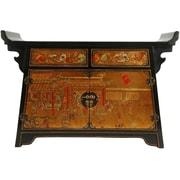 Oriental Furniture Altar 2 Drawer Cabinet; Gold Leaf