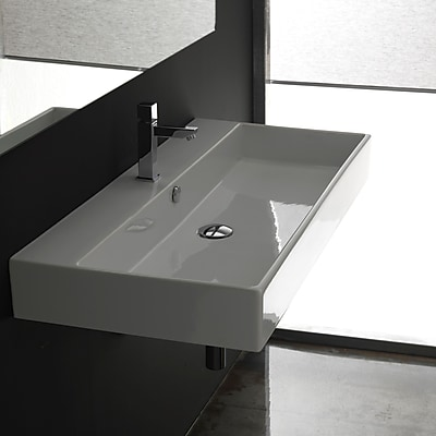 Ceramica II Unlimited Ceramic Ceramic Rectangular Vessel Bathroom Sink w/ Overflow