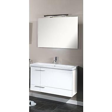 Iotti by Nameeks Simple 39'' Single Wall Mounted Bathroom Vanity Set w/ Mirror; Teak