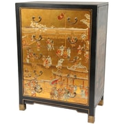 Oriental Furniture Hand Painted 5 Drawer Chest; Gold Leaf