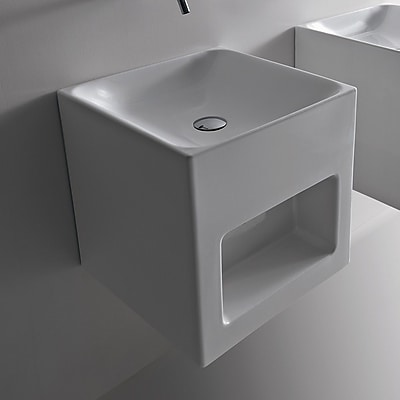 WS Bath Collections Cento Ceramic 18'' Wall Mount Bathroom Sink