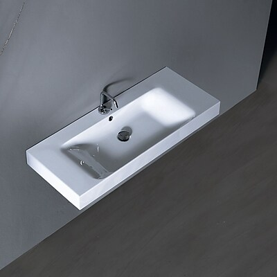 WS Bath Collections Cento Ceramic 40'' Wall Mount Bathroom Sink w/ Overflow