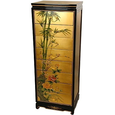 Oriental Furniture Gold Leaf 8 Drawer Cabinet
