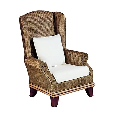 Padmas Plantation Bali Wing back Chair; White Fabric