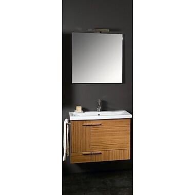 Iotti by Nameeks Simple 32'' Single Wall Mounted Bathroom Vanity Set w/ Mirror; Natural Oak
