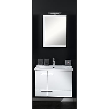 Iotti by Nameeks Simple 32'' Single Wall Mounted Bathroom Vanity Set w/ Mirror; Teak