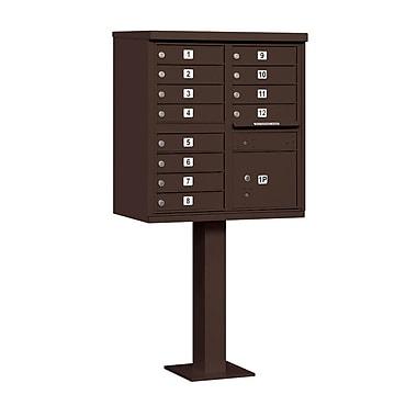 Salsbury Industries 12 Door Front Load 4C Horizontal Cluster Box Unit w/ 1 Parcel Locker; Bronze