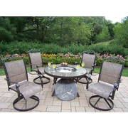 Oakland Living Stone Art 5 Piece Fire Pit Seating Group w/ Cushion