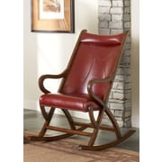 Largo Rocking Chair; Brown Cherry / Red Leather