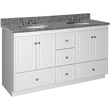 Strasser Woodenworks Simplicity 60'' Double Bowl Bathroom Vanity Base; Dark Alder