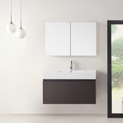 Virtu Zuri 39'' Single Bathroom Vanity Set w/ Mirror; Wenge