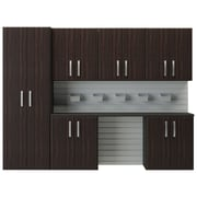 Flow Wall 6' H x 8'W 7 Piece Cabinet Set; Espresso