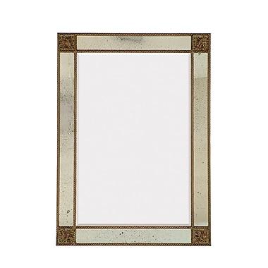 Majestic Mirror Detailed Rectangular Antique Beveled Glass Wall Mirror