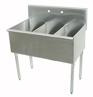 Advance Tabco 400 Series Triple 3 Compartment Floor Service Sink; 41'' H x 21'' W x 48'' D