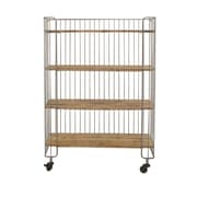 Woodland Imports Modernly Designed Metal Wood Storage Shelf Kitchen Cart