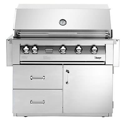 Vintage Appliances Vintage 4-Burner Built-In Convertible Gas Grill w/ Smoker WYF078277198916