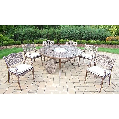 Oakland Living Mississippi 7 Piece Dining Set w/ Cushions; Oak Meal