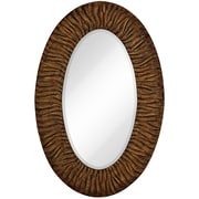 Majestic Mirror Traditional w/ Black Rub Beveled Glass Oval Shaped Accent Wall Mirror; Gloss Gold