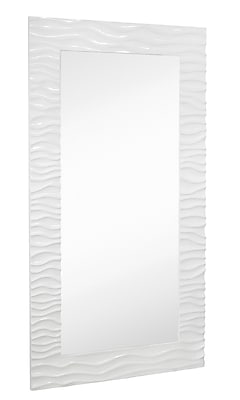Majestic Mirror Large Stylish Rectangular Glossy White Lacquer Wavy Framed Glass Wall Mirror WYF078277338177