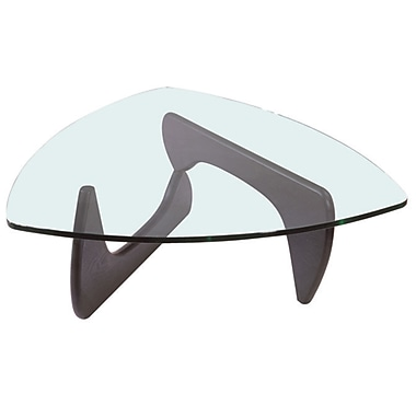 Creative Images International Mid-century Glass Top Coffee Table; Light Brown