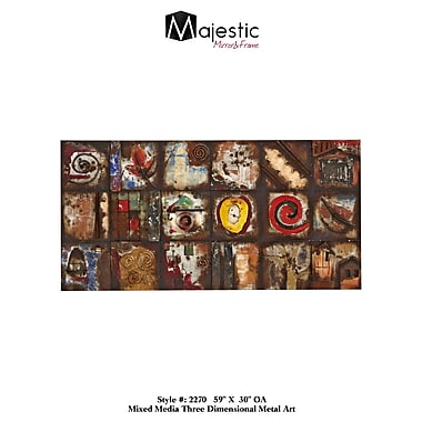 Majestic Mirror Colorful Funky Geometric Mixed Media Rectangular Painting Print Plaque