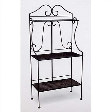 Woodard Classic Wrought Iron Collection Standard Baker's Rack; Hammered Pewter