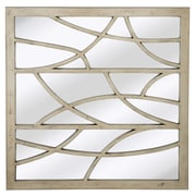 Majestic Mirror Contemporary Artistic Square Accent Mirror; Antique Silver