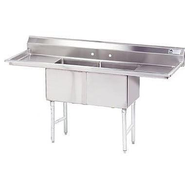 Advance Tabco Double Fabricated Bowl 2 Compartment Scullery Sink; 43'' H x 84'' W x 29'' D