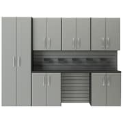 Flow Wall 6' H x 8'W 7 Piece Cabinet Set; Silver
