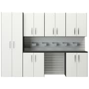 Flow Wall 6' H x 8'W 7 Piece Cabinet Set; White
