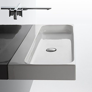 WS Bath Collections Unit Ceramic 40'' Wall Mount Bathroom Sink w/ Overflow; Two Hole