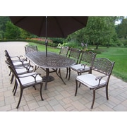Oakland Living Mississippi 9 Piece Dining Set w/ Cushions and Umbrella