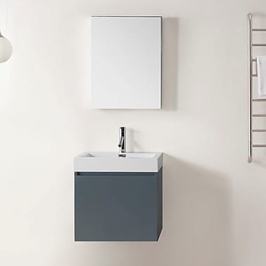 Virtu Zuri 22'' Single Bathroom Vanity Set w/ Mirror; Gray