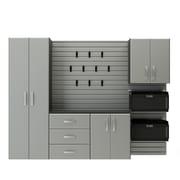 Flow Wall 6' H x 8' W x 1.5' D 5 Piece Storage Cabinet Starter Set; Silver