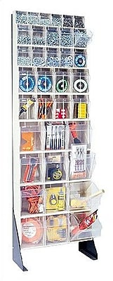 Quantum 75'' Single Sided Floor Stand Storage Unit w/ Tip Out Bins; Ivory WYF078277074517