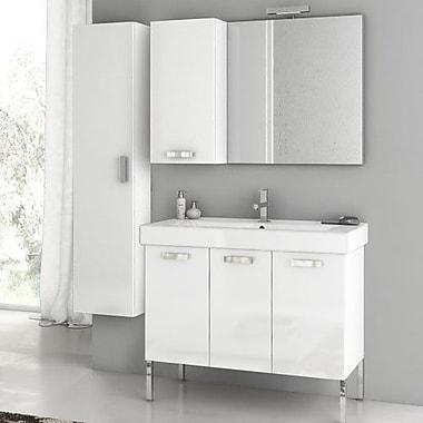 ACF Cubical 37.4'' Single Bathroom Vanity Set w/ Mirror; Glossy White
