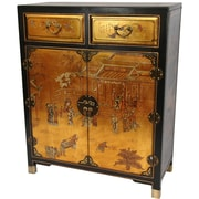 Oriental Furniture Lacquer 2 Drawer Chest; Gold Leaf Lacquer