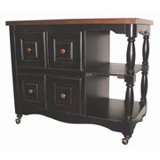 Sunset Trading Sunset Selections Kitchen Island w/ Butcher Block; Antique Black / Cherry