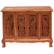 EXP D cor Handmade Acacia 39'' Exotic Peacocks Storage Sideboard Buffet; Natural