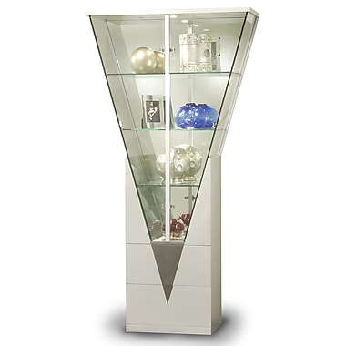 Chintaly Lighted Curio Cabinet; Silver