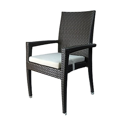 Infinita Corporation Venice Stacking Patio Dining Chair w/ Cushion (Set of 6); Gray